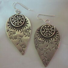 Fine Silver Earrings Vintage Jewelry Hill tribe Genuine Spiral Flower engrave