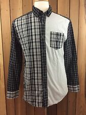 Men's ODIN New York At Target Patchwork Plaid Long Sleeve Button Front Shirt Med