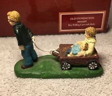 Old Stonington Folk Art Villages Lang and Wise Boy Pulling Cart With Baby