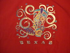 Vintage Texas Boot Gold Shiny Print Artwork Souvenir Red T Shirt L