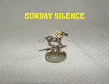 SUNDAY SILENCE MINIATURE FIGURINE HAND PAINTED HORSE RACING JOCKEY SILKS