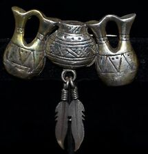 Glen Sandoval GS Navajo Sterling Silver 3 Vases Jugs Pin w/ 2 Dangling Feathers