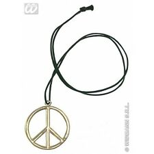 Metal Hippie 60s 70s Peace Sign Necklace Medallion Fancy Dress Costume Prop