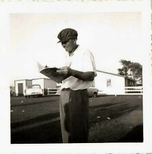 Old Vintage Antique Photograph Man With Crazy Hat Reading Magazine Book