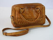 Vtg 70s Retro Tan Brown Leather Tooled Crossbody Hand Bag Satchel Purse Tote M