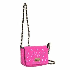 Pink Patent Heart Quilted Small Turnlock Fastening Crossbody Box2204 n