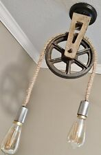 Ceiling Light Fixture - FARMHOUSE - STEAM PUNK - Cast Iron Pulley and Rope