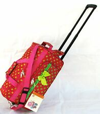 "20"" 40LB. PINK w LG GREEN POLKA DOTS ROLLING WHEELED DUFFLE BAG LUGGAGE CARRY ON"