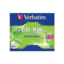 1 x Verbatim CD-RW haute vitesse 80min 700 mb (8-12x) écrin: standard 43148