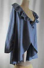 Bryn Walker Blue Linen Tunic Shirt Cardigan Small LS Open Front Ruffle Chambray