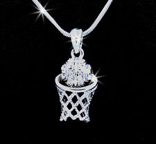 Basketball Net Hoop Basketball Silver Tone Austrian Crystal Pendant Necklace