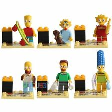 6 PCS Set The Simpsons Lot Minifigures Bart Homer Marge Lisa Blocks Bricks Toy