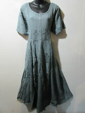 Dress Fits 1X 2X  Plus Long Gray Renaissance Flared Pleated Lace Hem NWT G227