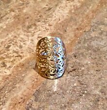 """TECHNIBOND"" 18K YELLOW GOLD PLATED FILIGREE DETAILED SIZE 8 RING GORGEOUS"