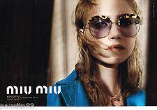 PUBLICITE ADVERTISING 065  2014  MIU-MIU   lunettes solaires ( 2p)  IMOGEN POOTS
