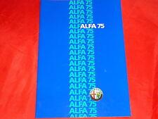 ALFA ROMEO 75 1.6 1.8 2.0 2.5 Quadrifoglio Verde Prospekt von 1986