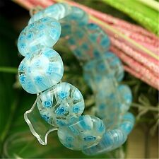 Blue Millefiori Glass Lampwork Stretch Beads Bracelet