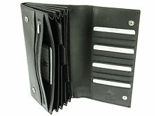 Visconti Soft Leather Travel Wallet For Passports Tickets Credit Cards - Black