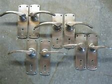 4 Prs Original Reclaimed  Art Deco Brass Copper / Bronze Door Handles 0236