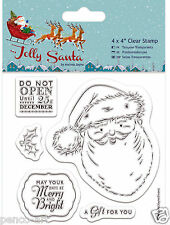 Docrafts Papermania Jolly Santa & Holly Christmas clear rubber stamp of 5 stamps
