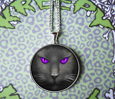 BLACK CAT PENDANT NECKLACE PURPLE EYES