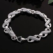 Wholesale 925Sterling Solid Silver Jewelry Dragon Bracelet For Women H130