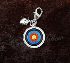 925 Sterling Silver Charm Archery Target Bow and Arrow toxophilite