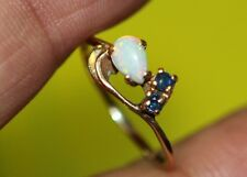 +  GORGEOUS 14K Yellow GOLD OPAL Blue Sapphires Promise RING Size 6.25 Ladies