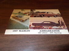 1967 AMC Ambassador and Marlin Vintage Advertising Postcard