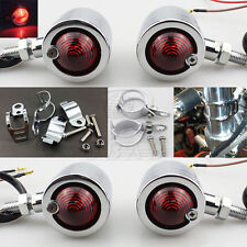 4x Chrome Motorcycle Turn Signals Bullet Blinker Indicator Red Light Mount Kit