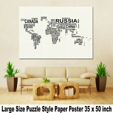 "Wall Large Puzzle Custom Print Decor Art Huge Giant 35""x50"" Poster World Map A33"