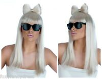 Long White Blonde Wig & Bow Lady Gaga Diva FREE Black Glasses Fancy Dress