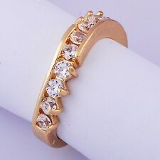 Classic Womens Band Ring Cubic Zirconia Yellow Gold Filled Size 8#D7232