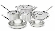 10 Pc All-Clad 2-Layer Stainless Steel Kitchen Cookware Set Cooking Accs Silver