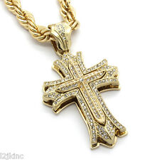 "Mens Large Thick Cross Gold Plated Iced Out Pendant 30"" Necklace Rope Chain G07"