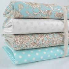 4 X FQ BUNDLE - ANTIQUE DAISY - AQUA BLUE - 100% FLORAL COTTON FABRIC retro