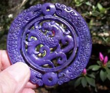 Multiple Icons Carved in Lavender Jade Dragons/Beast