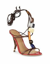 $1135 DSQUARED2 36/6 Ankle Leather Tie Sculpted Heel Brown Stone Sandals ITALY