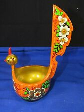 "Russian Folk Art KHOKHLOMA Carved Lacquer Wood Bird Bowl,Dish 9"" tall Tail,Signd"