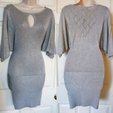 BEBE GREY POINTELLE BACK SWEATER DROP WAIST DRESS NWT NEW $119 LARGE L