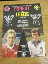 15/02/1978 Football League Cup Semi-Final: Nottingham Forest v Leeds United  (to