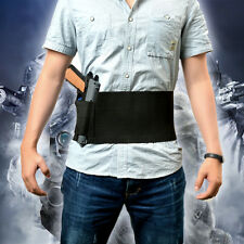 Tactical Adjustable Belly Band Waist Pistol Gun Holster &2 Magzine Pouches Black
