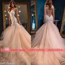 Lace Tulle Church Train Mermaid Bridal Gown Backless Wedding Dresses Custom
