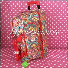 Vera Bradley Paisley In Paradise Lighten Up Large Wheeled Duffel Travel Bag