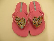 IPANEMA GIRLS SIZE 9 TODDLER FLIP FLOP SHOES PINK WITH BEADED HEART TURQUOISE