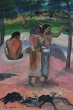 Unique Original tempera painting, signed Paul Gauguin, w COA, Gogh, Monet era