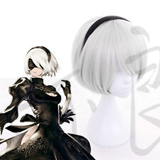 Harujuku Japanese Hot Game NieR:Automata 2B Anime Cosplay Daily White Short Wig