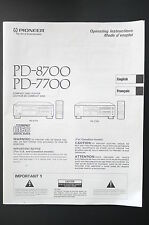 PIONEER PD-8700/PD-7700 Original Bedienungsanleitung/User Manual Top-Zust.!