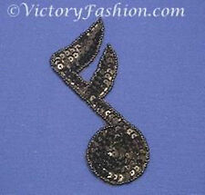 Musical 16th Note Black Sequin and Bead Motif Appliques (2 pieces)