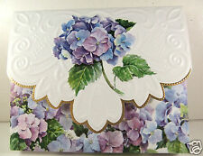 Carol Wilson 10 Blank Note Card Lace Borders Stationery Purple Blue Hydranga New